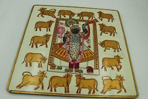 Textile uses fabric plate of shreenath ji darshan home decorative plate artwork