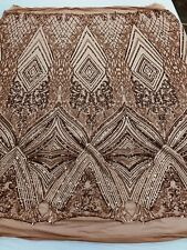 Coffee Sequins Fabric 4 Way Stretch Embroidery On Power Mesh-Lace-Prom By Yard
