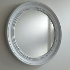 White Round Beaded Wall Mirror Elegant Hallway bath room Wall mirror 45 x 45 cm