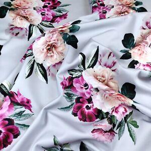 FS382 Beauty Asper Grey Base Floral Flower Print Jersey Scuba Stretchy Fabric