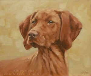 BEAUTIFUL HUNGARIAN VIZSLA DOG ORIGINAL OIL PAINTING 10 x 12 inch by JOHN SILVER