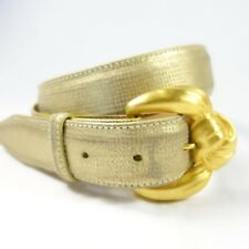 New listing Judith Jack Genuine Suede Reptile Texture Gold Belt Signed Buckle Sz. S
