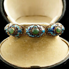 Antique Vintage Art Deco Chinese Sterling Silver Enamel Jade Filigree Bracelet