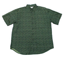 Vintage 1990s 90s Green 100% Silk Button Up Shirt Hipster Streetwear Mens Large