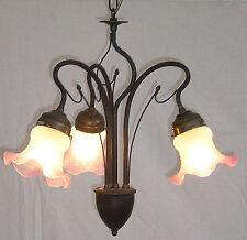 LAMPADARIO liberty in ottone brunito 3 luci con vetri NUOVO mod.OLIVA