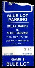 Football Ticket Dallas Cowboys 1986 11/27 Seattle Seahawks