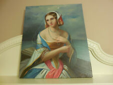 MYSTERIOUS WOMAN PORTRAIT VINTAGE OIL PAINTING ON CANVAS SIGNED BY ARTIST