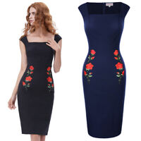 Retro Vintage Cap Sleeve Square Neck Hips-wrapped Bodycon Pencil Party Dress