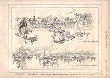 Espagne Séville Mariage Royal Alphonse XII Régates Yacht Voiliers GRAVURE 1878