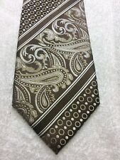 EMILIO PONTI MENS TIE BROWN WITH GRAY PAISLEY PATTERN NWOT 3.5 X 61