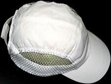 White Nylon Mesh Running Cap, washable plastic brim