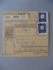 GERMANY BRD, parcelpost card 1962, 3x stamp Heuss 70 Pf