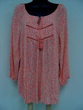 Plus Size 2X CROCHET TRIM Top PEASANT Shirt Trendy Feminine LONG Blouse NWT