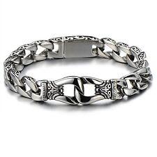 Herren Accessoires Drachen Bindeglied Armreif Schwarz Silber Edelstahl Armband