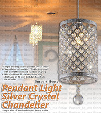 Crystal Chandelier Pendant Ceiling Light Hanging Metal Lamp Silver SURPARS HOUSE