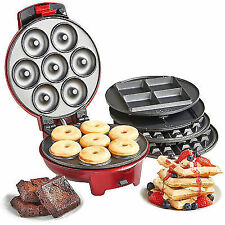 3-in-1 Snack Maker Fat- Doughnut Waffle Brownie Batter Cook Pan Red VonShef