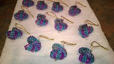 12 HANDMADE CHRISTMAS ORNAMENTS MADE WITH BLING TEAL AND PURPLE
