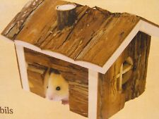HAMSTER MOUSE GERBIL HOUSE HIDE AWAY LOG CABIN SMALL ANIMAL WOODEN HOUSE