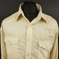 Wrangler Mens Vintage Western Shirt Pearl Snap 2XL Long Sleeve Beige