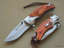 7.75 INCH OVERALL WOOD HANDLE SPRING ASSISTED KNIFE WITH POCKET CLIP