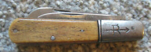 Early RUSSELL Green River Works 2 Blade Barlow, Sawed Bone Handle Good to VG