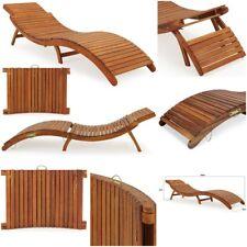 Acacia Wood Sun Lounger Ergonomic Sun Deck with Headrest Foldabe Patio Furniture