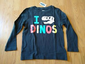Old Navy Boys Shirt 4T Toddler Dinosaurs Dinos LS Long Sleeve Black NEW NWT