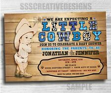 baby shower boy invitation little cowboy western printed digital set of 10