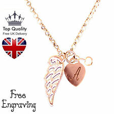PERSONALIZZATO CUORE ANGELO CUSTODE collana gioielli rosa placcato oro UK
