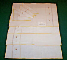 4 VINTAGE LINEN PLACEMATS, NAPKINS, HAND EMBROIDERED, ORIGINAL TAG, NEVER USED
