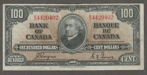 BANK OF CANADA 1937 $100 NOTE  B/J4420402