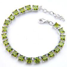 100% Handmade Jewelry Gift Olive Peridot Gemstone Silver Charming Bracelets