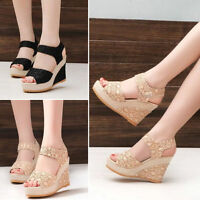 FASHION WOMENS SUMMER HIGH WEDGE HEEL PLATFORMS LADIES ANKLE STRAP SHOES SANDALS