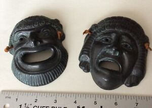 Pair Metal Decorative Masks