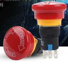 Red 16mm Emergency Stop Push Button Switch Mushroom 1NO 1NC 3 Pin Red Black