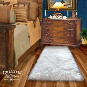 Soft Shag Faux Fur Area Rug, Rectangle, Faux Sheepskin Carpet, Bonded Suede