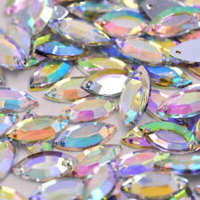 50x Clear AB Flat back Faceted Teardrop Pear Rhinestone Sew On Bead 7 x 15mm