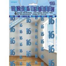 6 x 5 Feet 16th Birthday String Glitz Blue Hanging Party Supply Decorations