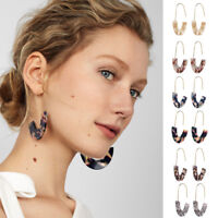 1Pair Womens Acrylic Leopard Print Drop Earring Long Hoop Dangle Earring Jewelry