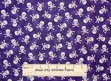 Pirates & Indians Quilting Treasures Skull Crossbones Purple Cotton Fabric YARD