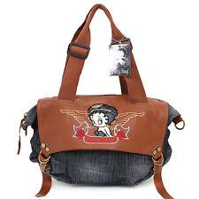 Betty Boop Hand Bag Heart Beaker Jean Denim Brown Leather Shoulder Satchel Bag