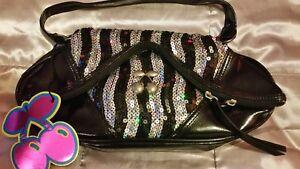 New* Womens Pacha hand bag 🍒  sequin black & silver ☆100% Genuine ☆Clubbing bag