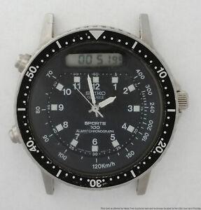 Vintage Seiko Digital Analog Alarm Chronograph Sports 100 Mens Watch