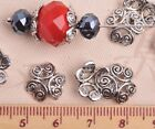 50pcs 12mm Round Tibetan Silver Ripple Caps Charm Loose Spacer Beads Findings