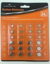 24pc Button Batteries Assorted Button Cell Alkaline Batteries-Watch Calculator