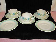 "3 Vintage Franciscan Earthenware ""Tulip Time"" Cup & Saucer Sets + 2 Extra Saucer"