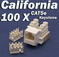 100 Pcs lot Keystone Jack CAT5e White Network Ethernet 110 Punch Down 8P8C RJ45