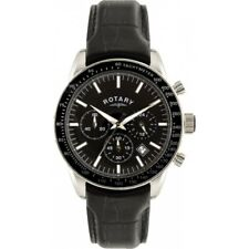 Rotary Gents Black Face Steel Chronograph Leather Watch.Stunning Design RRP £199