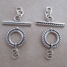2 Bali toggle clasps antiqued sterling silver wire 13mm with chain