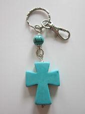 KeyRing/handbag/zipper Turquoise cross bead charm pendant gift lobster clasp